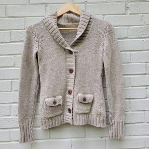 Royal Robbins Chunky Cardigan Sweater Oatmeal Wool